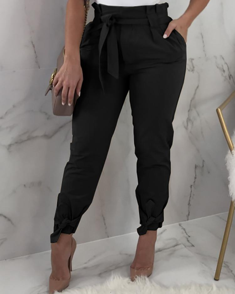 Frill Waist Belted Tied Ankle Pants фото