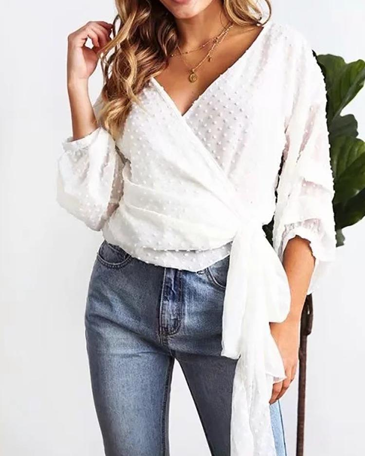 Solid Dot Puffed Sleeve Tied Front Blouse фото