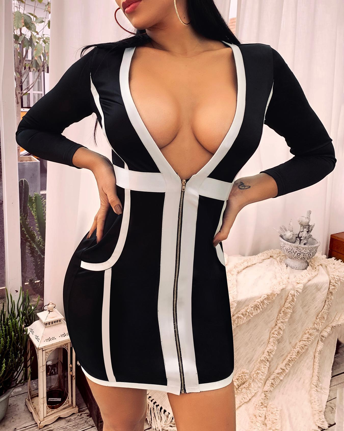 Deep V-Neck Contrast Color Zipper Bandage Dress фото