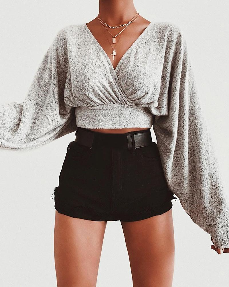 Solid Batwing Sleeve Ruched Crop Blouse фото