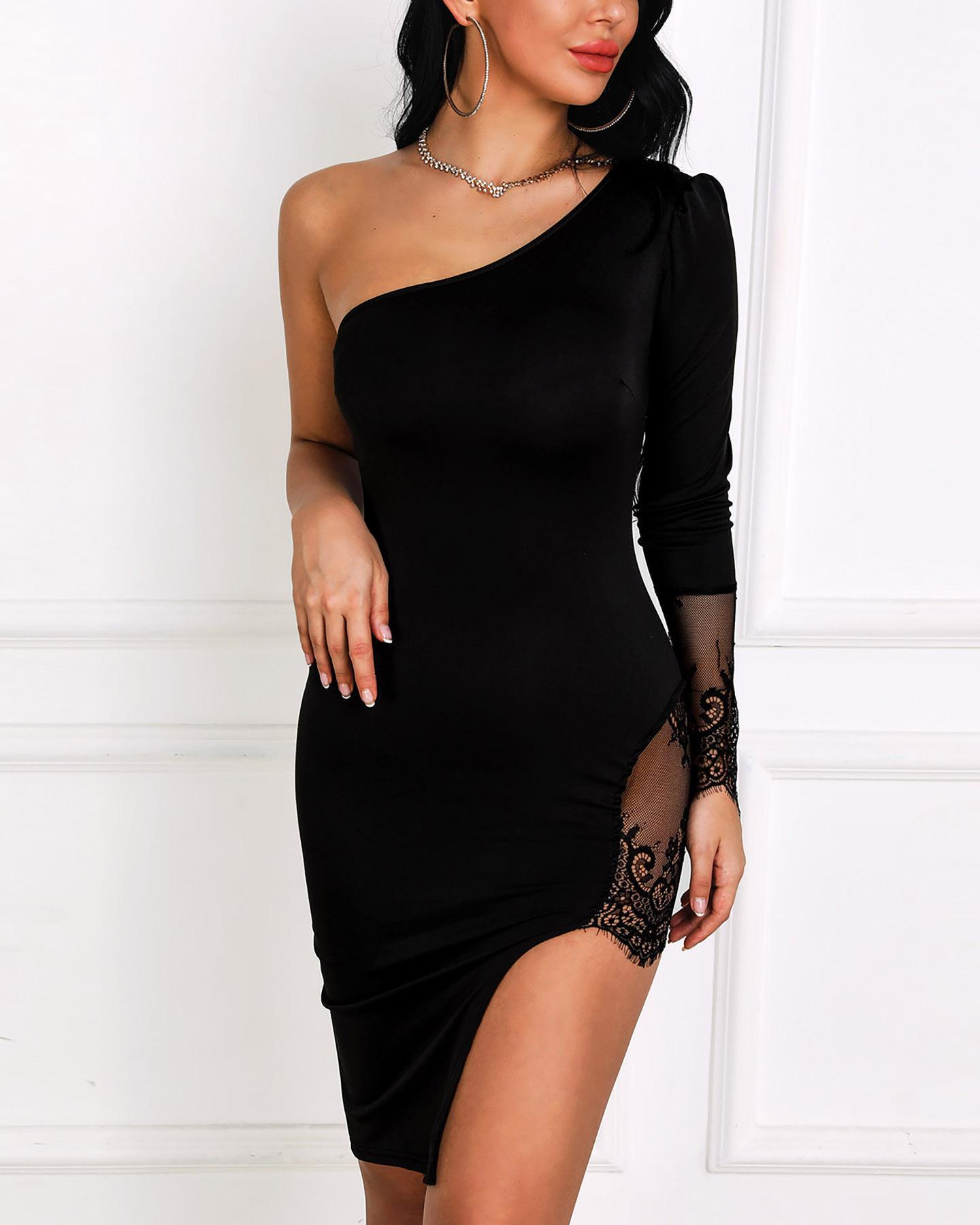 One Shoulder Lace Insert Slit Bodycon Dress, Black