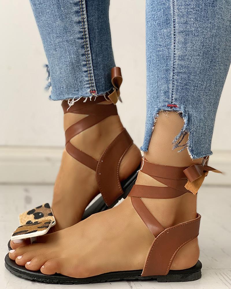Leopard Print Toe Ring Lace-Up Flat Sandals фото