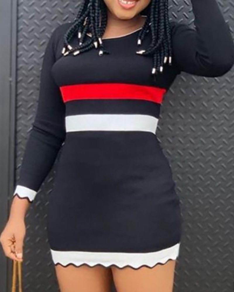 Striped Contrast Color Long Sleeve Bodycon Dress фото