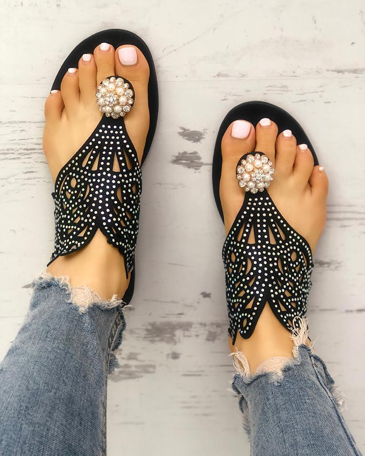 chicme / Lentejuelas adornadas sandalias de punta hueca