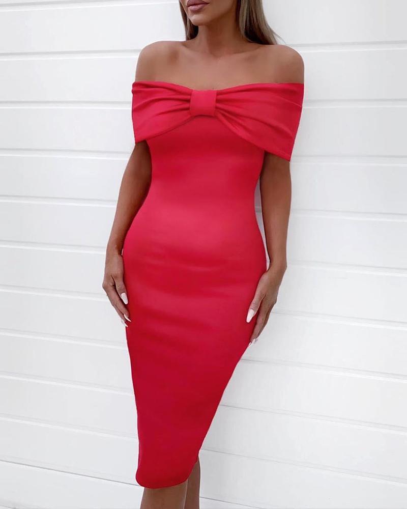 ivrose / Off Shoulder Bowknot Fold-Over Bodycon Dress