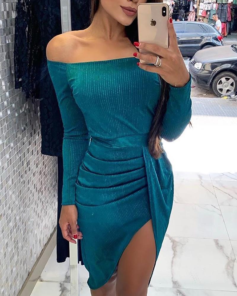 chicme / Off Shoulder Ruched Slit Dress