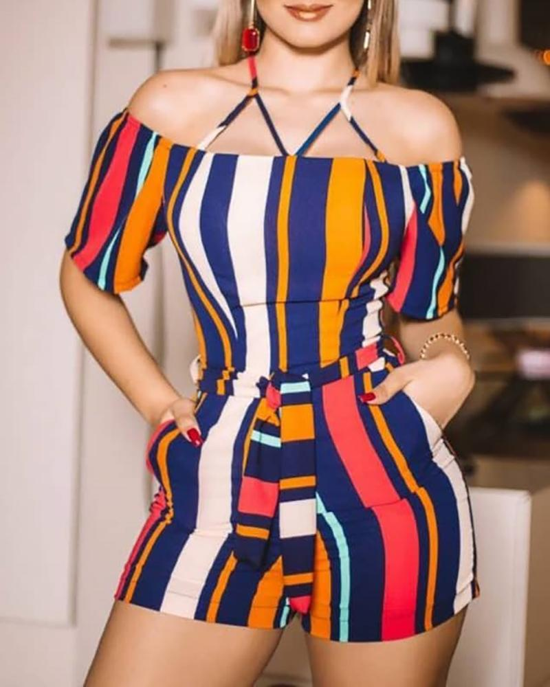 joyshoetique / Colorful Striped Cold Shoulder Romper