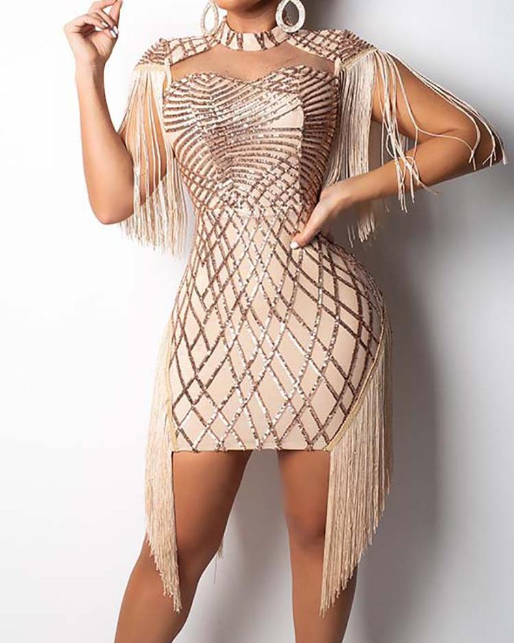 ivrose / Tassel Detail Cut Out Sequin Party Dress