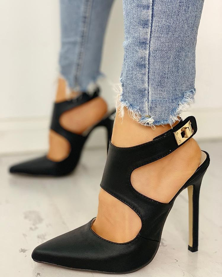 chicme / Pointed Toe Cut Out Slingback Heels