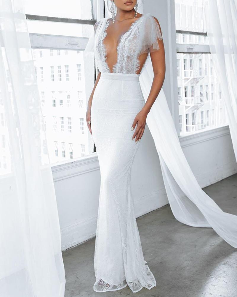 Backless Lace Mesh Slit V-Cut Mermaid Dress фото