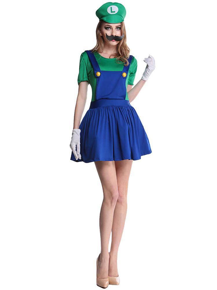 Super Mario Bros Women Adult Costume Halloween Cosplay