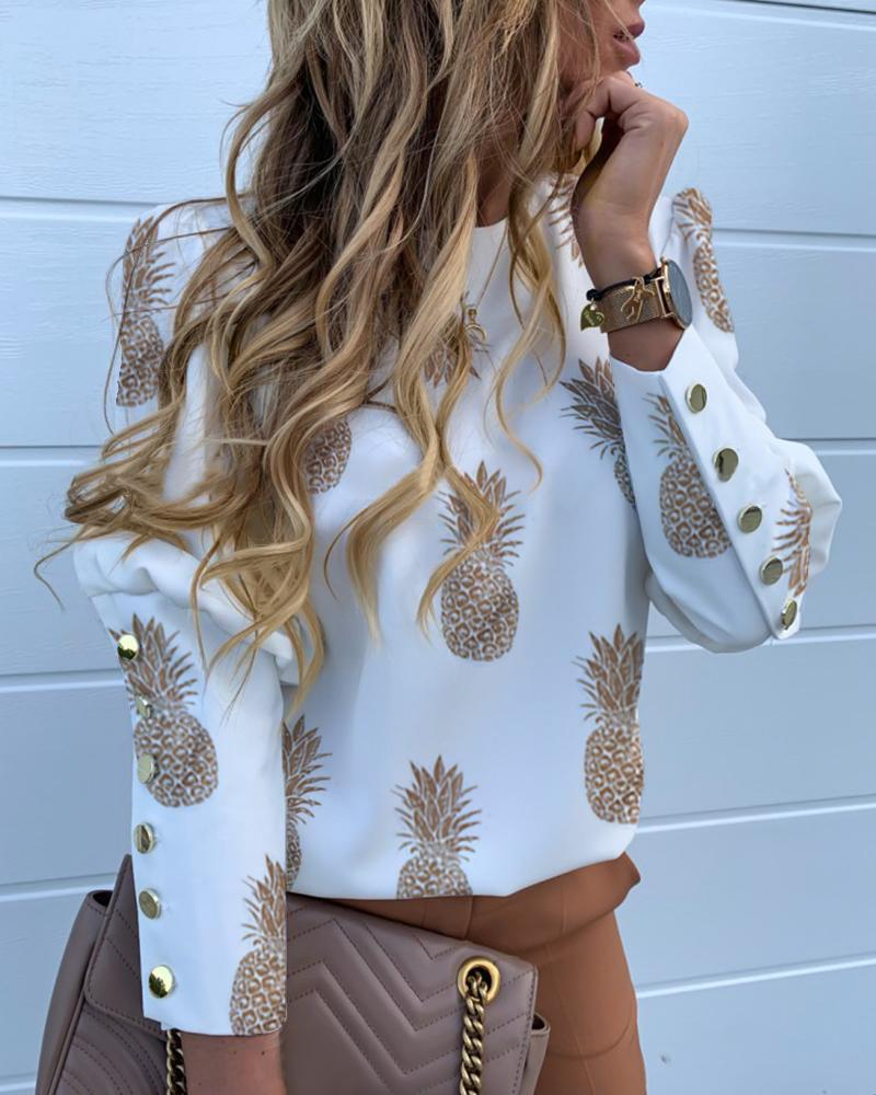 Pineapple Print Metal Buttoned Detail Casual Blouse фото