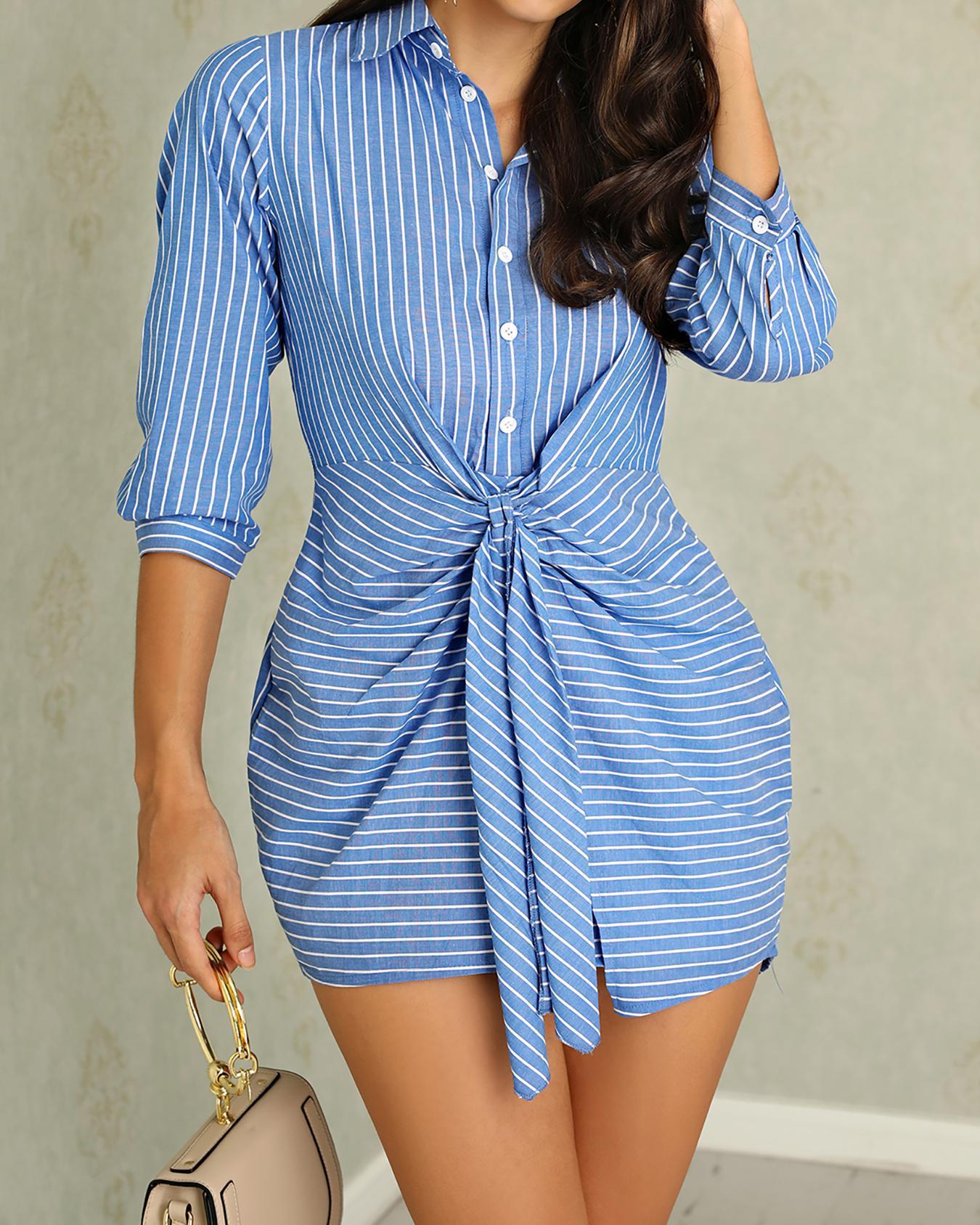 Vertical Stripes Button Knot Waist Shirt Dress