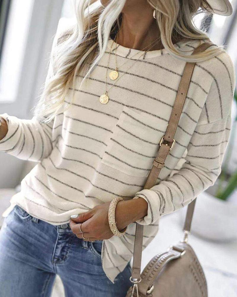 Striped Pocket Design Long Sleeve Tee
