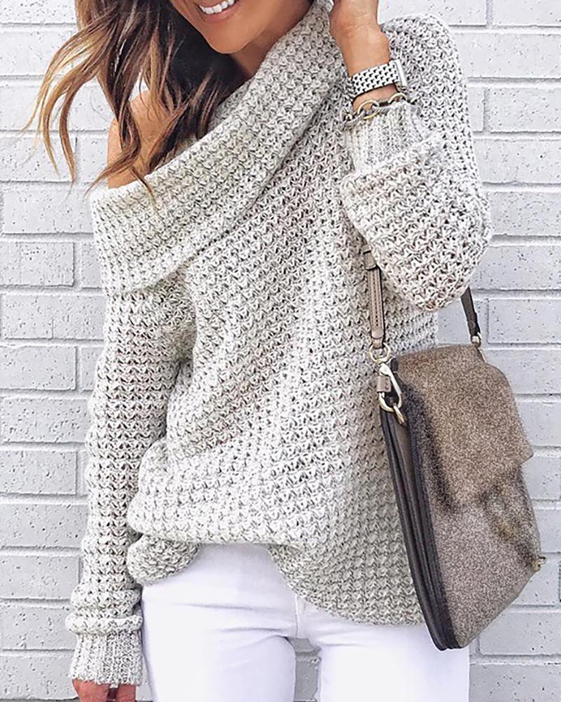 Solid High Neck Knitting Casual Sweater фото