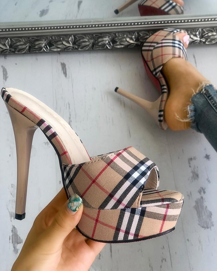 Plaid Print Single Strap Platform Thin Heeled Sandals