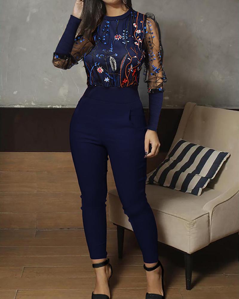 joyshoetique / Mesh Floral Embroidery Jumpsuit
