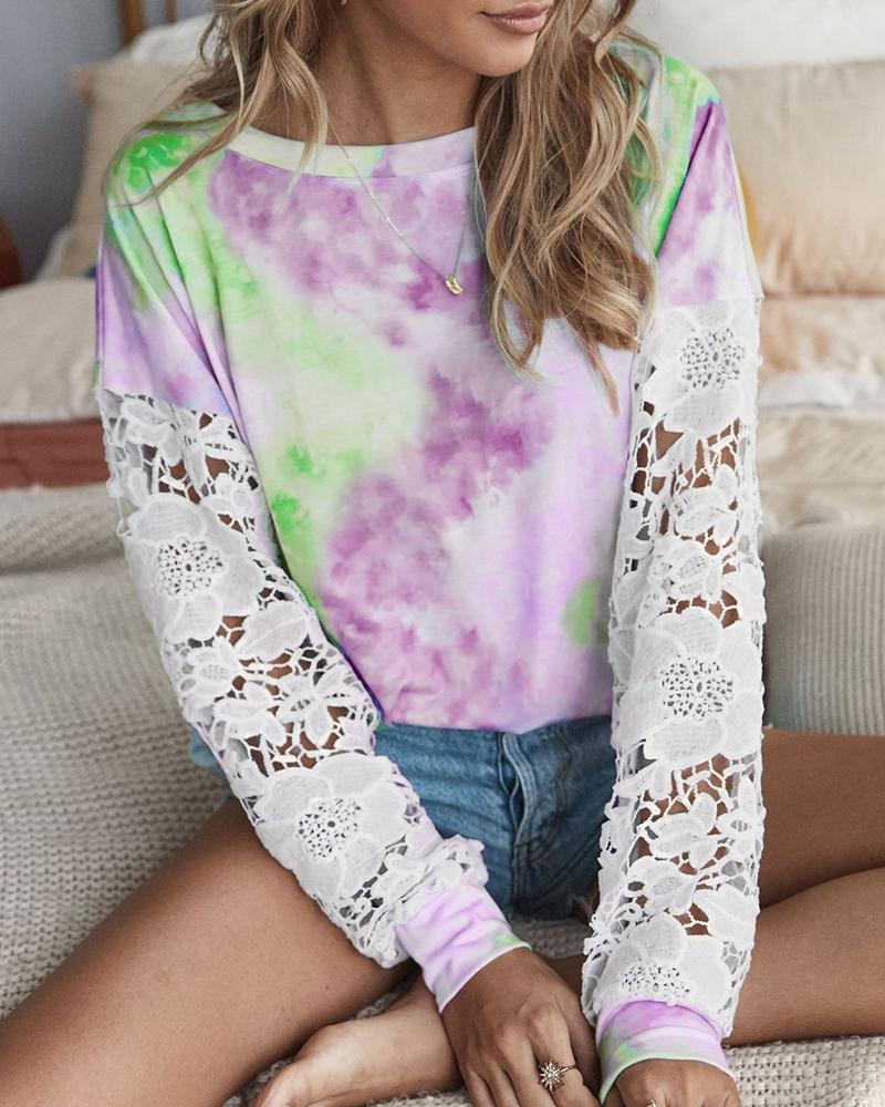 chicme / Crochet Lace Sleeve Tie Dye Print Casual Top