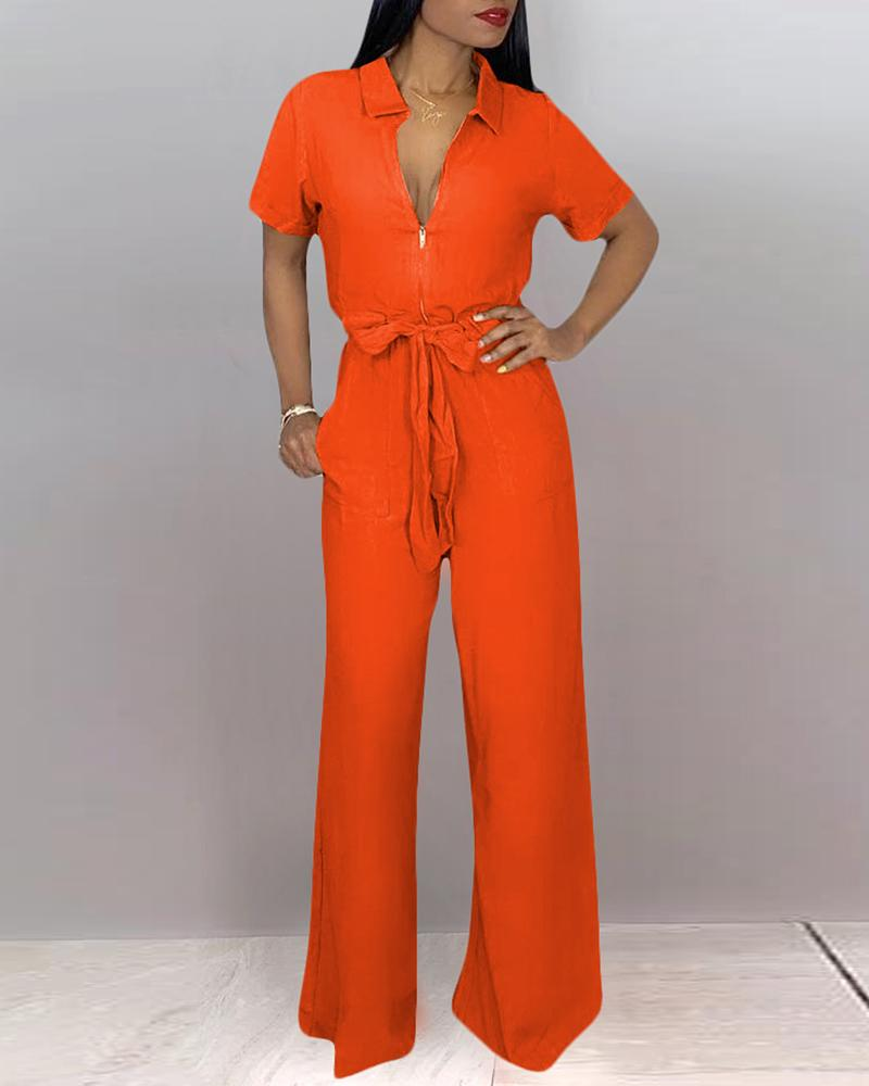 Turn-down Collar Short Sleeve Wide Leg Jumpsuit фото