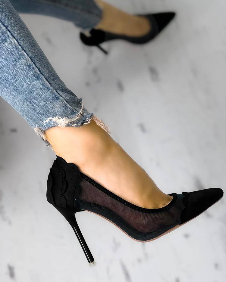 boutiquefeel / Sandálias de salto fino de emenda da guarnição da vieira da malha