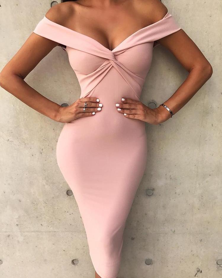 Solid Off Shoulder Twist Front Midi Dress фото