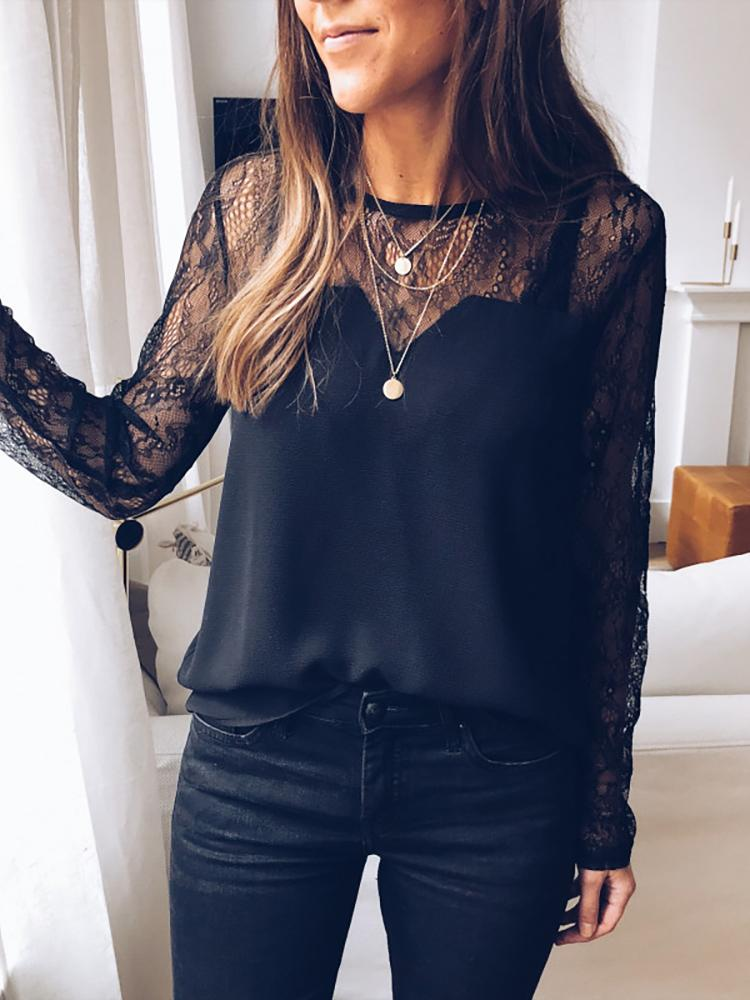 Sheer Lace Yoke Casual Blouse фото