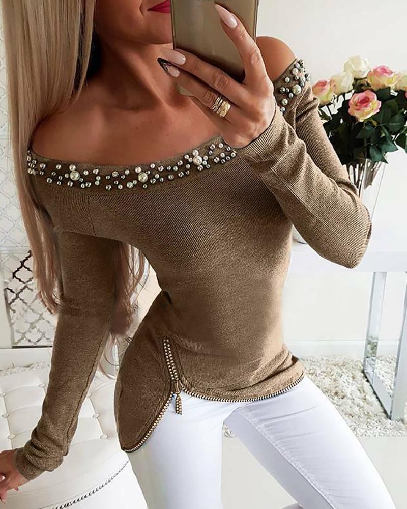 Off Shoulder Beaded & Zipper Design Top фото