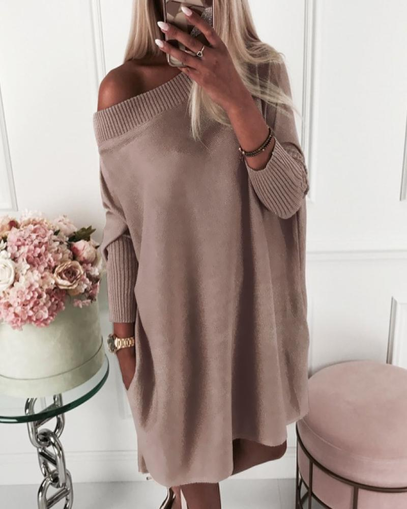 Solid Long Sleeve Ribbed Casual Sweater Dress фото