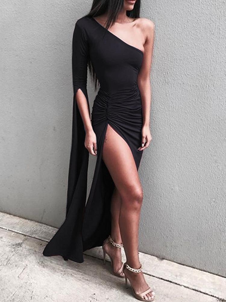 boutiquefeel / Vestido largo con abertura alta y hombros descubiertos