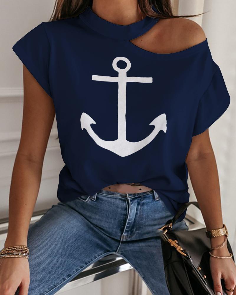 Boat Anchor Print Cold Shoulder Casual T-shirt фото