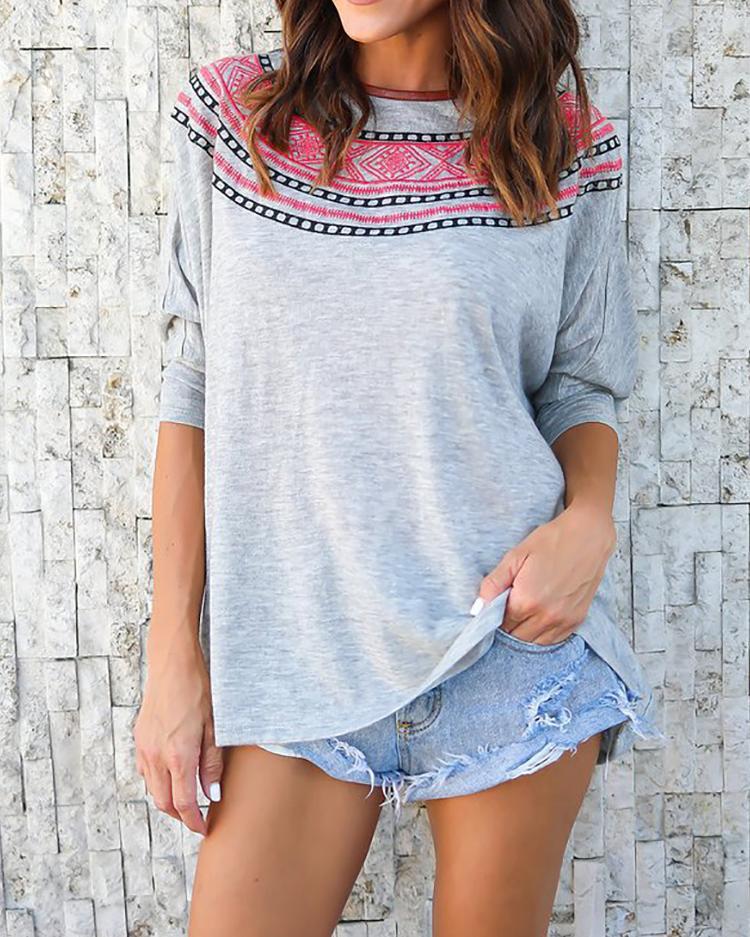 Fashion Print Batwing Sleeve T-shirt