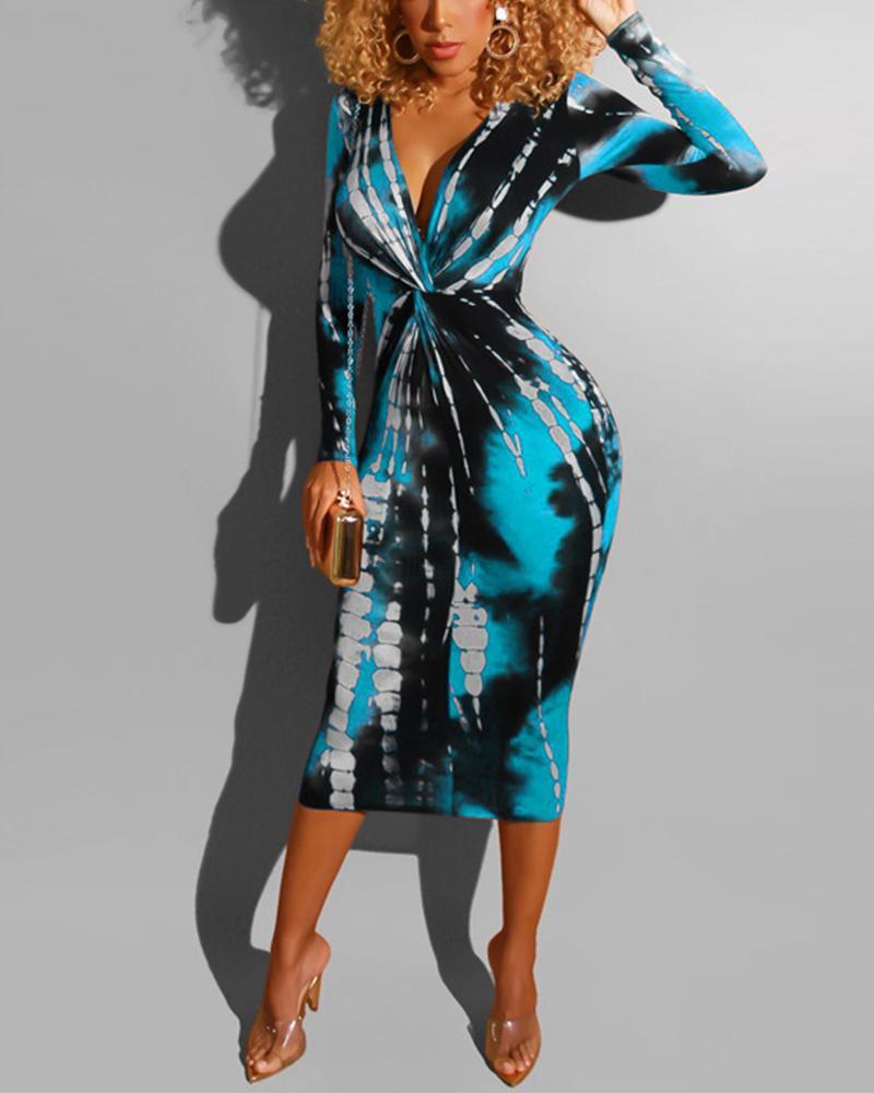 V Neck Front Twist Midi Dress фото