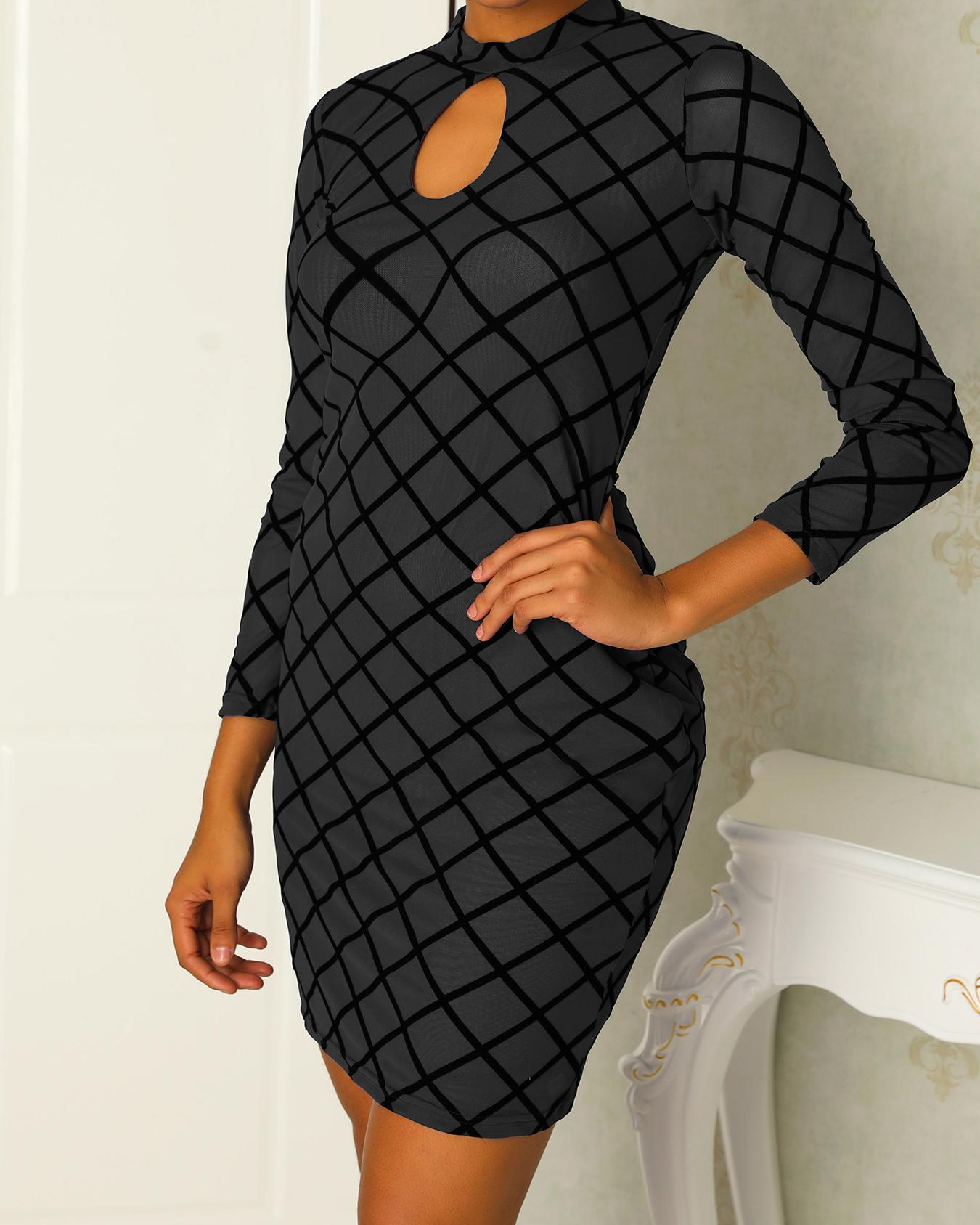 Sexy Cut Out Mesh Bodycon Dress фото