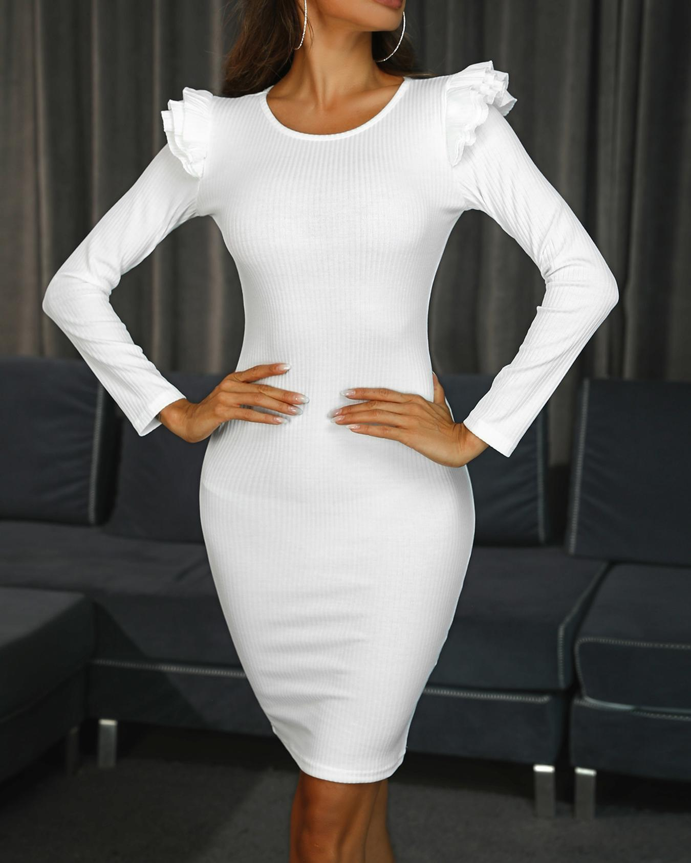 Solid Layered Flounced Bodycon Dress фото