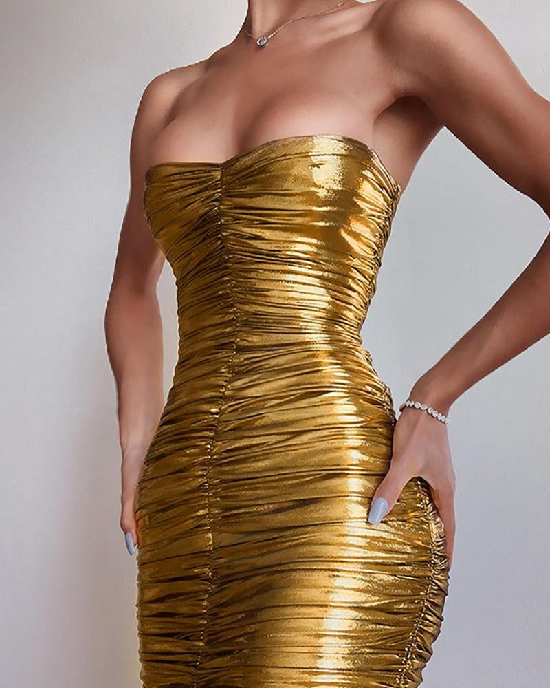 Tube Ruched Bodycon Party Dress фото