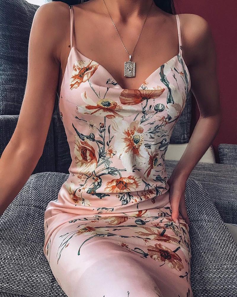 boutiquefeel / Vestido sin espalda con estampado floral y correa de espagueti