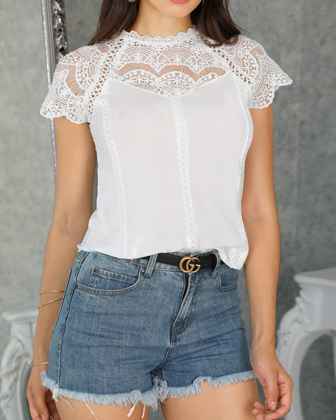 chicme / Crochet Lace Trim Splicing Blusa Casual