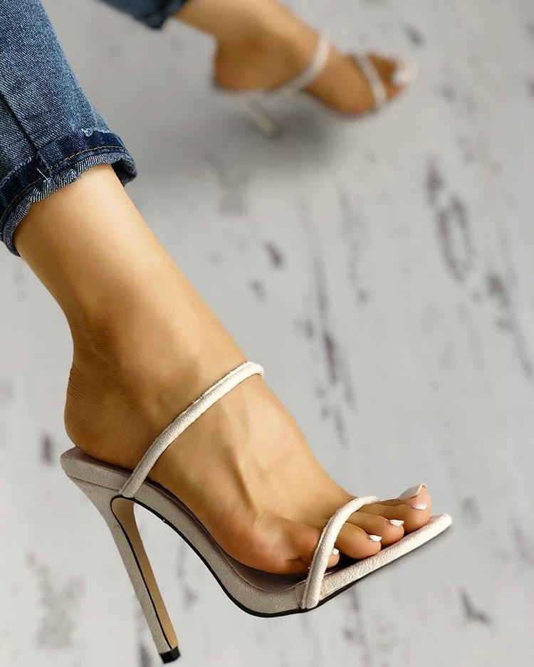 Concise Double Strap Thin Heeled Sandals фото
