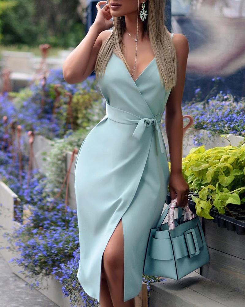 boutiquefeel / Correa espaguetis con cuello en V vestido con abertura