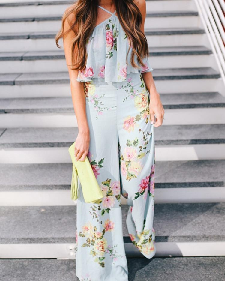 Boho Style Ruffled Strappy Wide Leg Jumpsuit