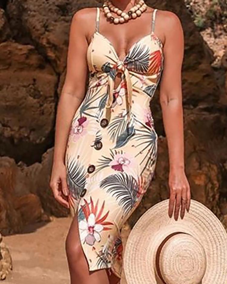 chicme / Vestido con botones y nudo delantero con estampado floral