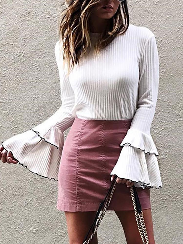 Fashion Flare Sleeve Rib Blouse