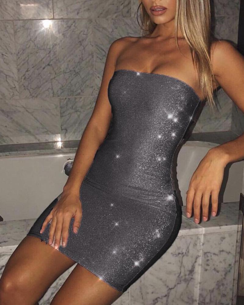 boutiquefeel / Mini vestido sem alças de Bodycon do brilho