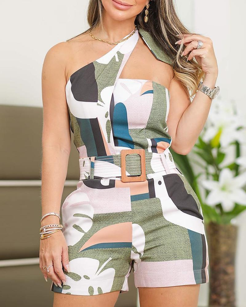 ivrose / One Shoulder Knotted Detail Print Romper