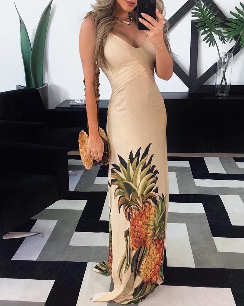 Spaghetti Strap Pineapple Print Maxi Dress, Multicolor