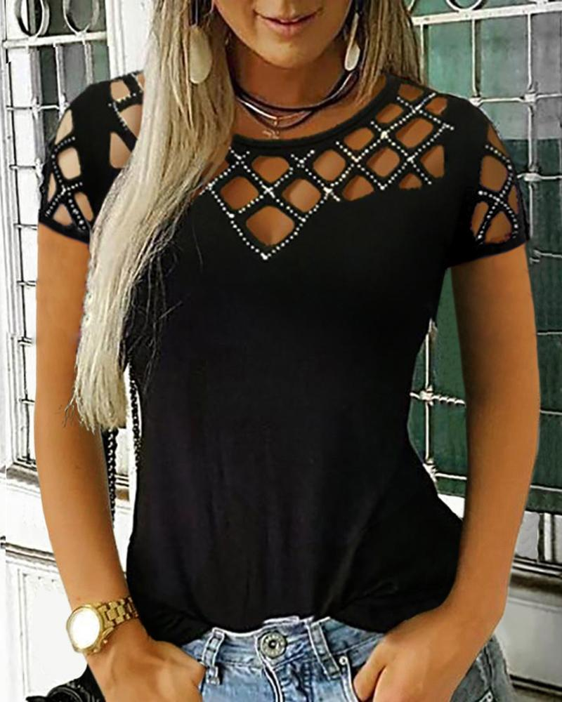 Studded Grid Hollow Out Casual Top фото