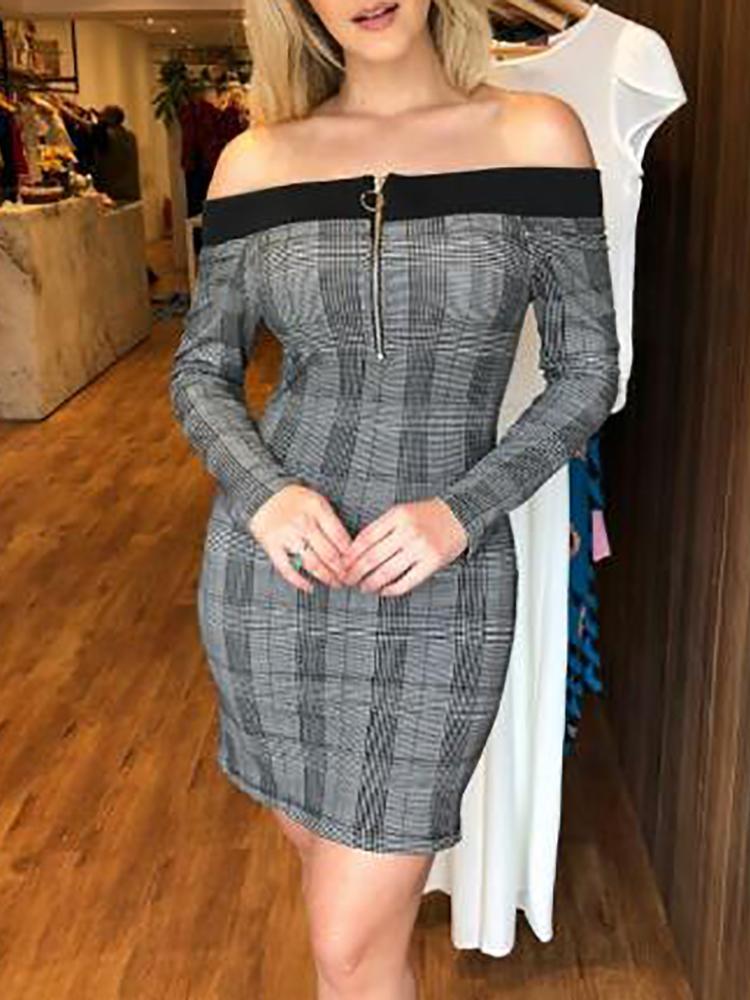 Binding Plaid Print Zip Up Bodycon Dress
