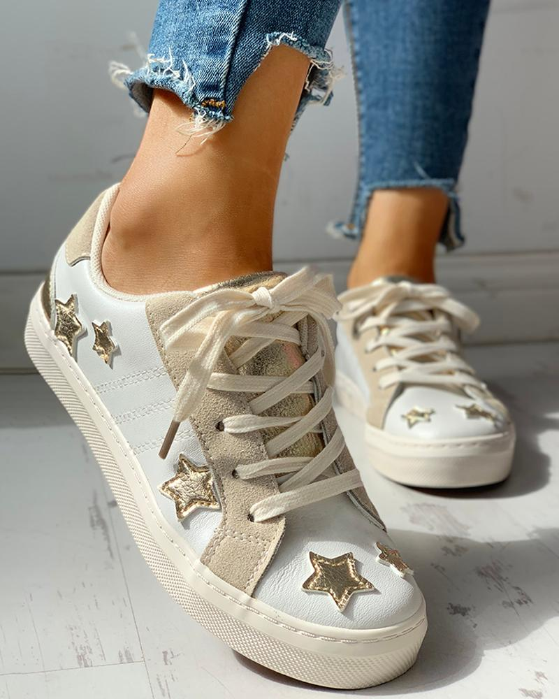 Star Design Casual Lace-Up Sneakers фото