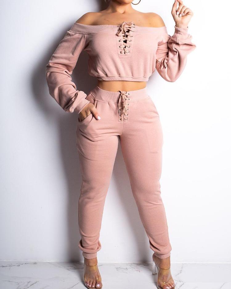 Lace-Up Design Off Shoulder Sweatshirt & Pant Sets фото