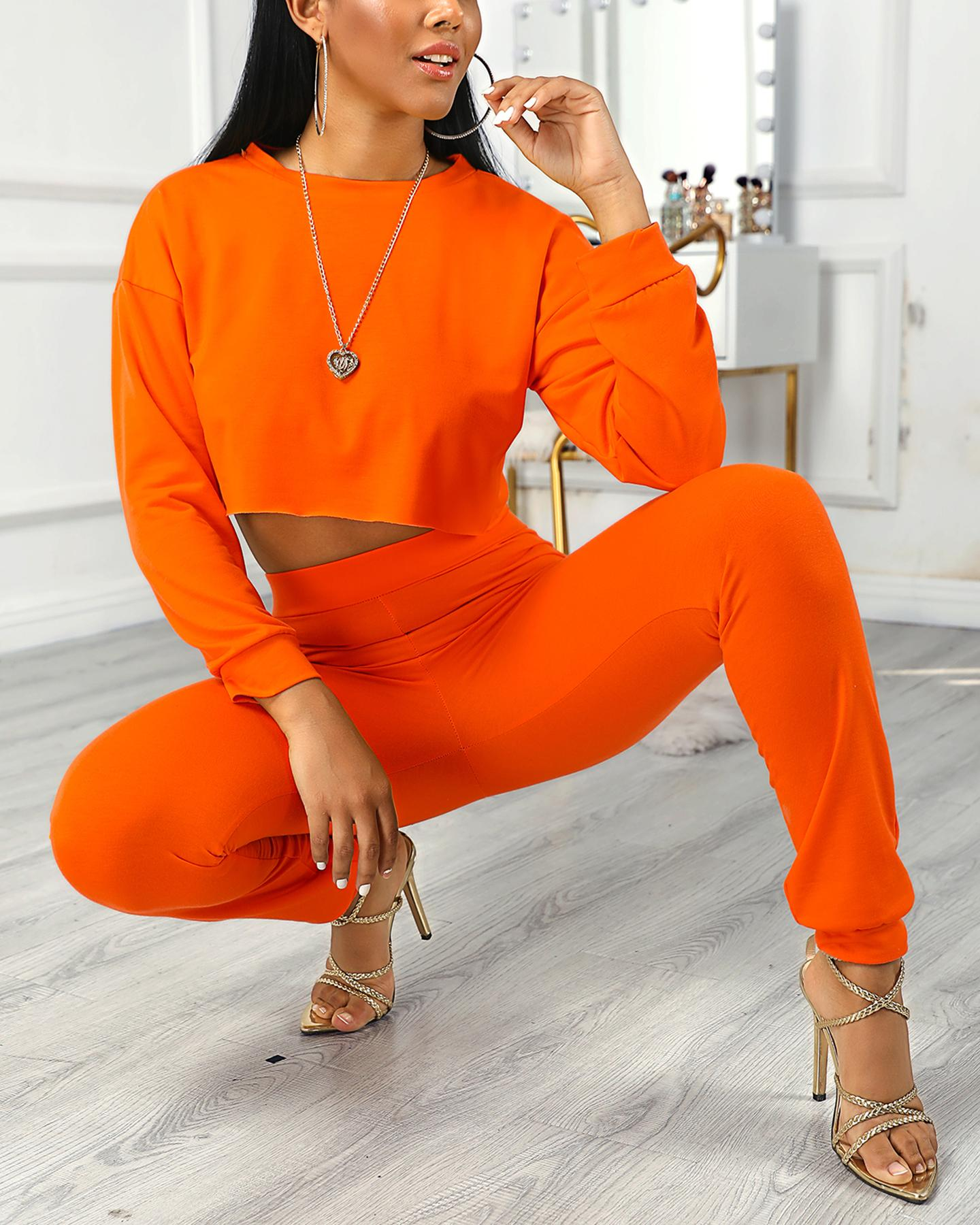 boutiquefeel / Frill Hem Crop Top & Pocket Design Pants Sets